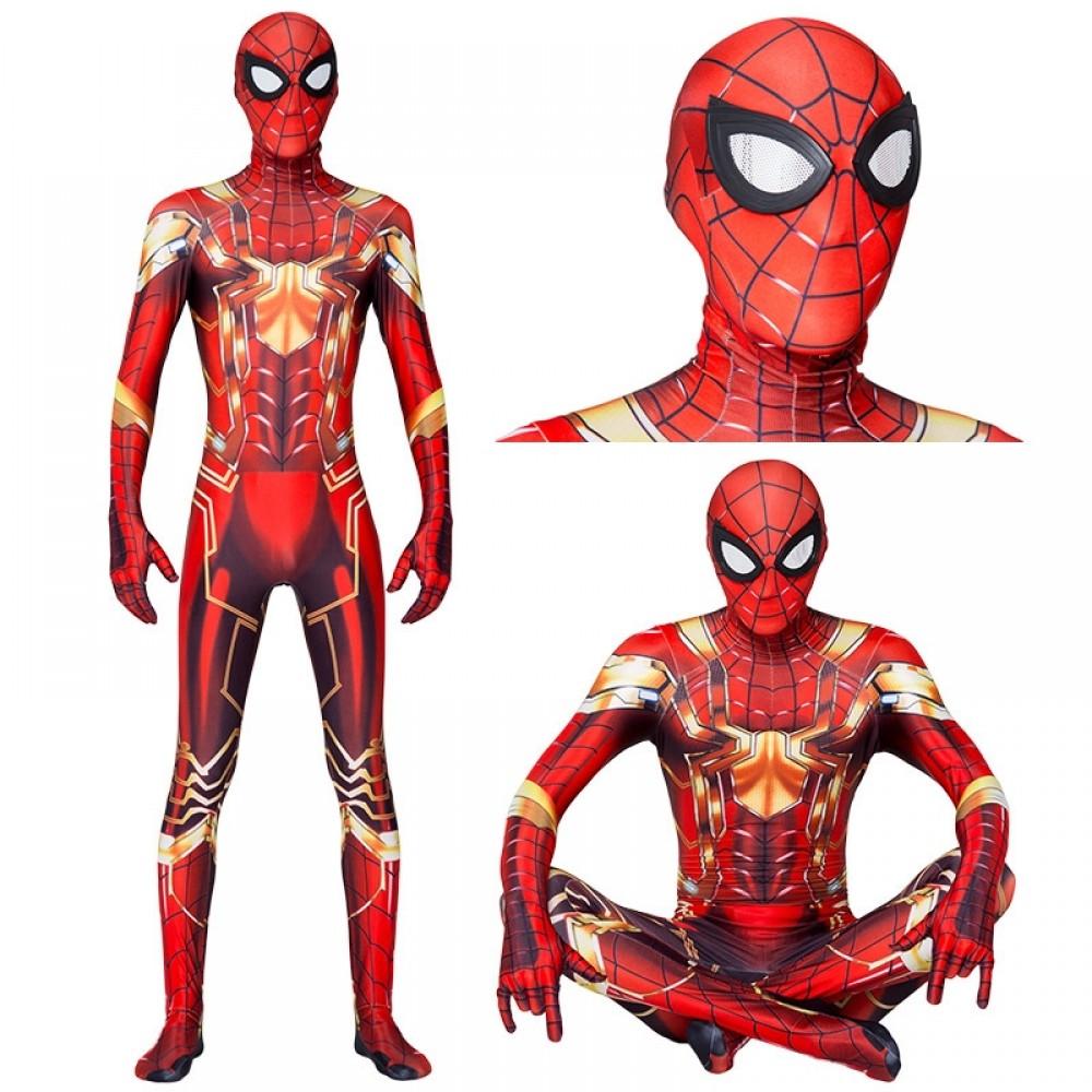 Iron Spiderman Kostüm Gold für Kinder und Erwachsene