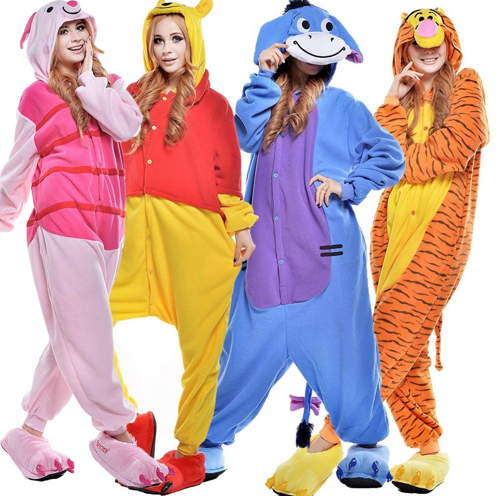 Winni Puuh Tigger I-Ah Piglet Kostüm Tier Pyjamas Schlafanzug