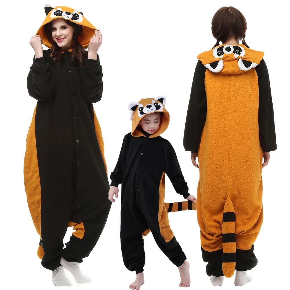 Erwachsene & Kinder Roter Panda Kostüme Pyjamas Einteiler