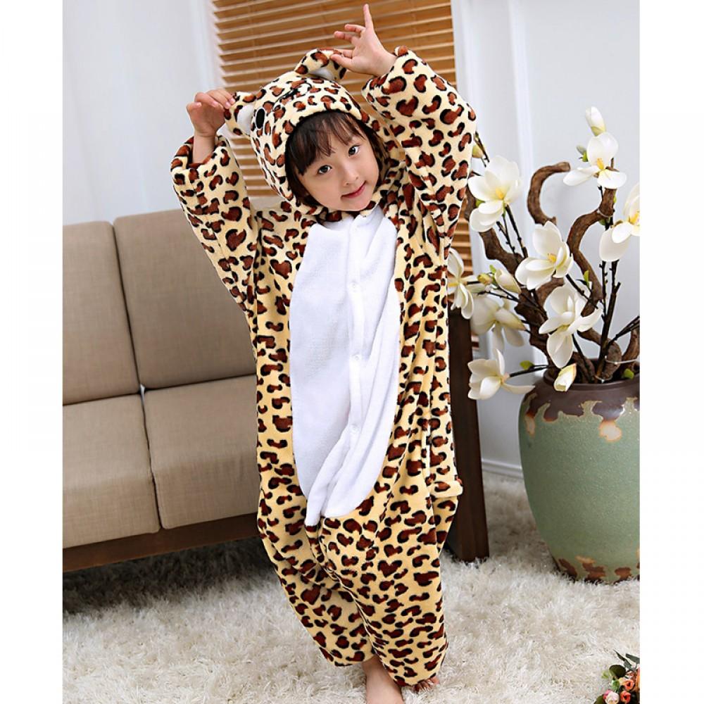 Leopard-Bär Kostüm Kinder Tier Onesie Pyjamas Overalls