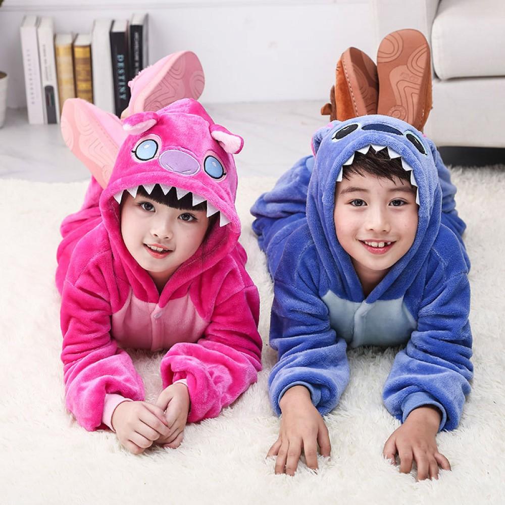 Stitch Kostüm Kinder Tier Overalls Pyjamas Jumpsuit Onesie Schlafanzug