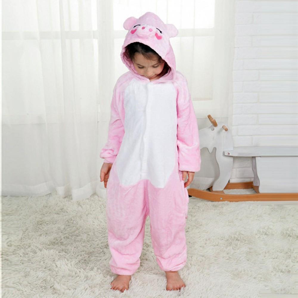 Rosa Schwein Kostüm Kinder Tier Pyjamas Schlafanzug Overalls Onesie