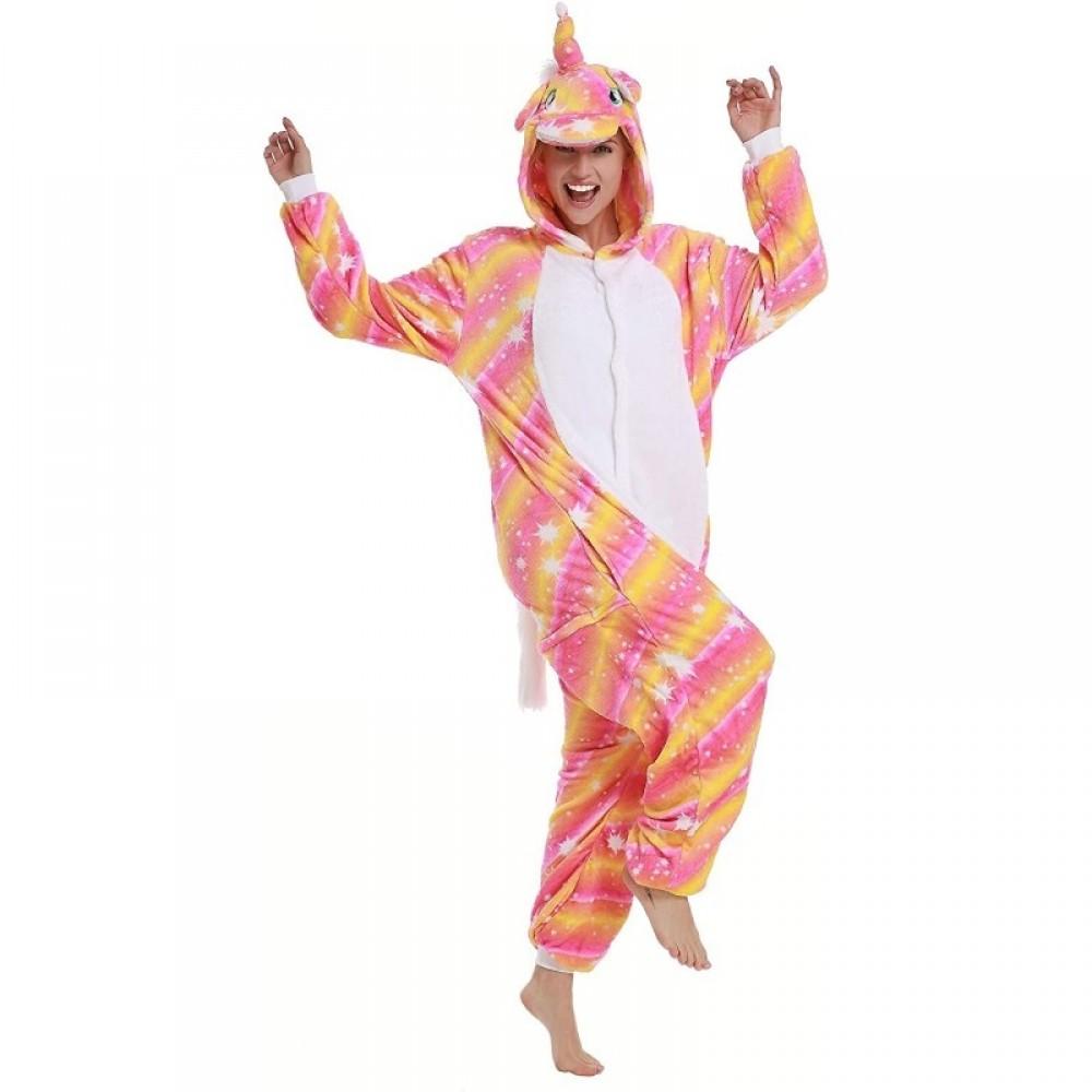 Orange Einhorn Kostüm Erwachsene Unisex Onesie Jumpsuit Pyjamas
